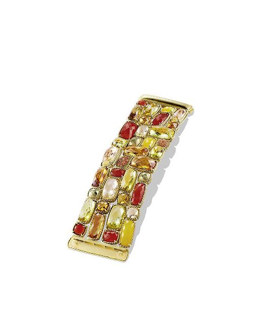 David Yurman | Yellow Châtelaine Five-row Bracelet With Lemon Citrine, Champagne Citrine, And Orange Sapphire In 18k Gold | Lyst