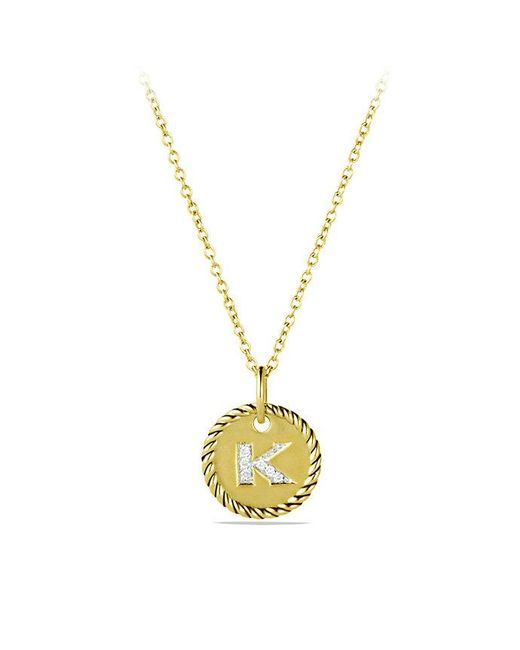 David Yurman | Metallic Initial Charm Necklace With Diamonds In 18k Gold | Lyst