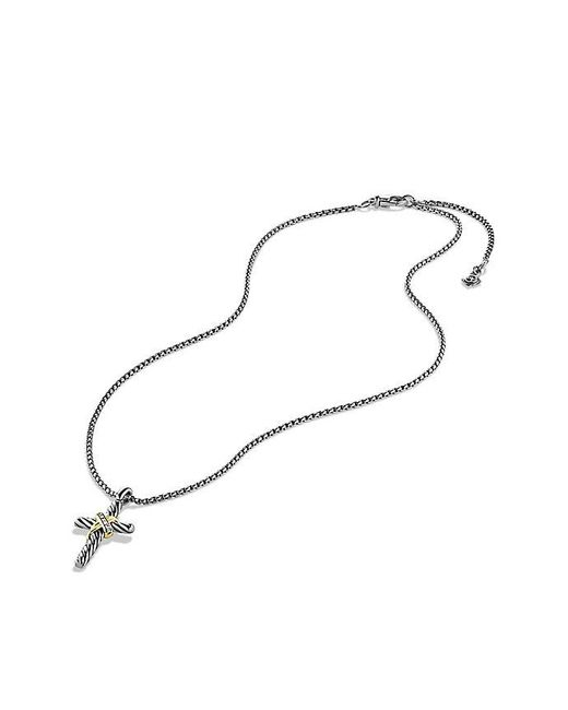 David Yurman - Metallic Cable Collectibles X Cross Necklace With Diamonds And 14k Gold - Lyst