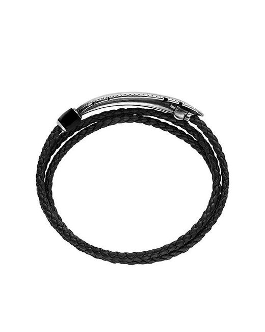 David Yurman - Feather Triple-wrap Bracelet In Black Leather With Black Onyx for Men - Lyst