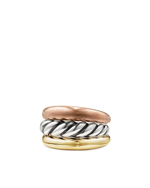 David Yurman | Metallic Pure Form® Mixed Metal Three-row Ring With Bronze, Silver And Brass | Lyst