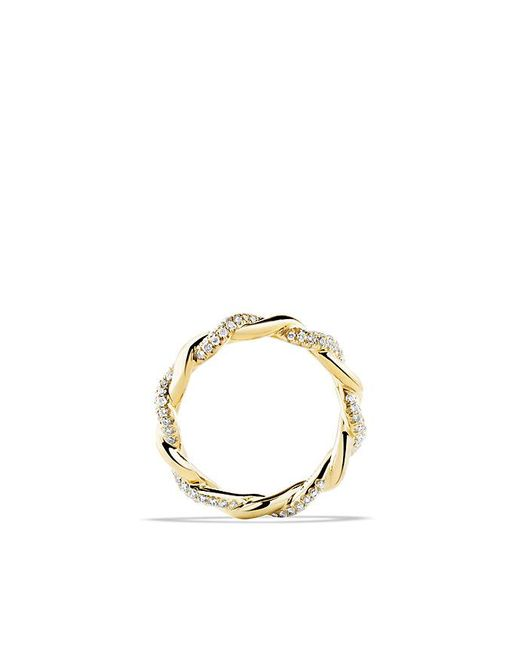 David Yurman - Metallic Wisteria Twist Ring With Diamonds In 18k Gold - Lyst
