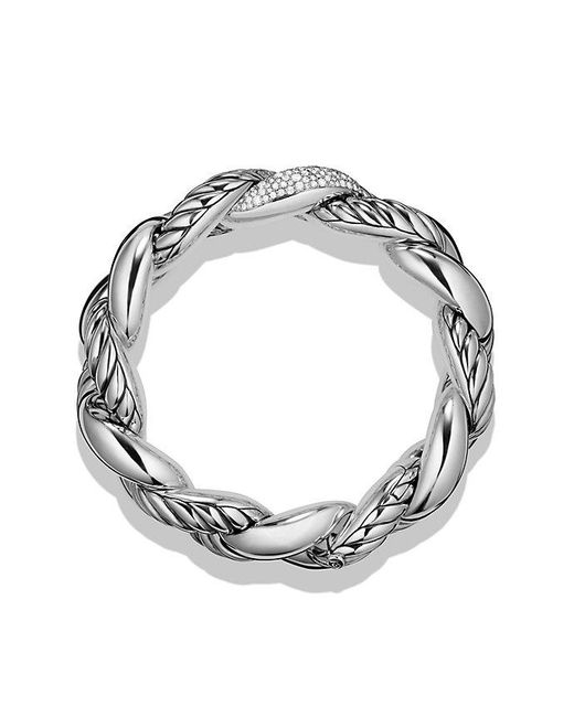 David Yurman   Metallic Belmont Curb Link Bracelet With Diamonds   Lyst