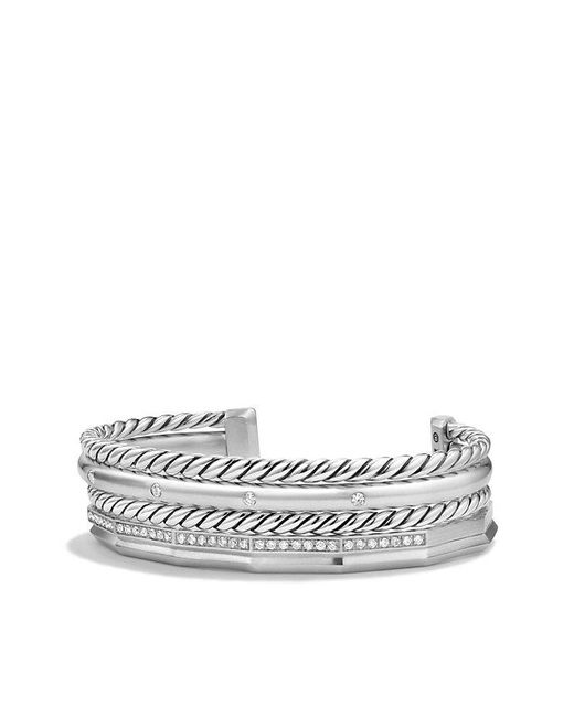David Yurman | Metallic Stax Narrow Cuff Bracelet With Diamonds, 16mm | Lyst