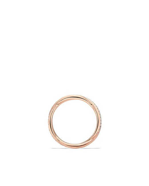 David Yurman - Multicolor Dy Lanai Pavé Wedding Band With Diamonds In 18k Rose Gold - Lyst