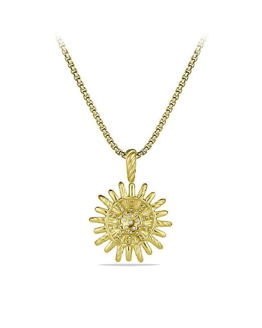 David Yurman - Metallic Starburst Small Pendant Necklace With Diamonds In 18k Gold, 18mm - Lyst