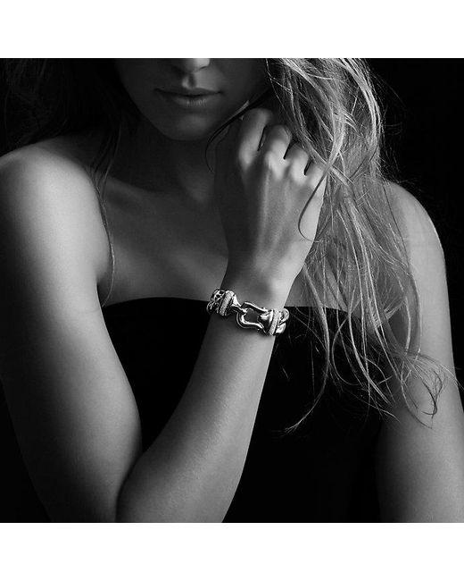 David Yurman - Metallic Buckle Single-row Bracelet With Diamonds, 19mm - Lyst