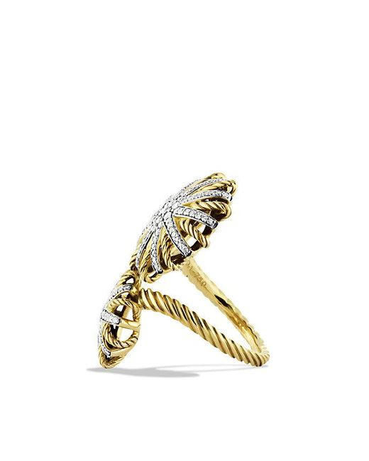 David Yurman - Metallic Starburst Open Ring With Diamonds In 18k Gold - Lyst