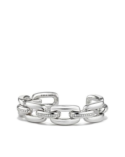 David Yurman - Metallic Wellesley Linktm Cuff With Diamonds, 14mm - Lyst