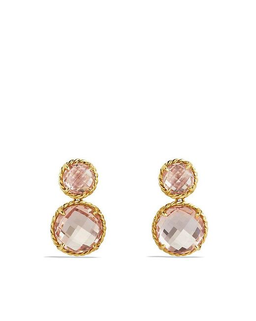 David Yurman | Yellow Châtelaine Mini Double-drop Earrings With Morganite In 18k Gold | Lyst