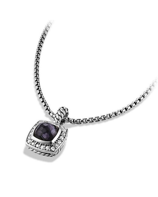 David Yurman - Metallic Petite Albion® Pendant Necklace With Black Orchid And Diamonds - Lyst