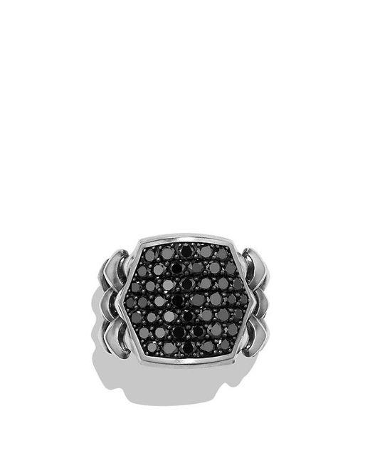David Yurman | Armory Signet Ring With Black Diamonds for Men | Lyst