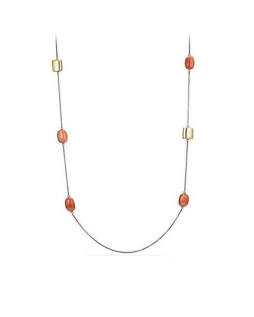 David Yurman - Metallic Bijoux Thread Link Necklace With Sun Stone And 18k Gold - Lyst