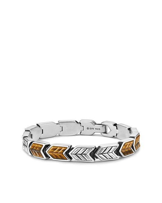 David Yurman - Metallic Chevron Link Bracelet With Tigers Eye, 9mm for Men - Lyst
