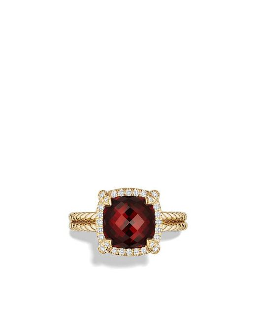 David Yurman | Metallic Châtelaine Pave Bezel Ring With Garnet And Diamonds In 18k Gold, 9mm | Lyst