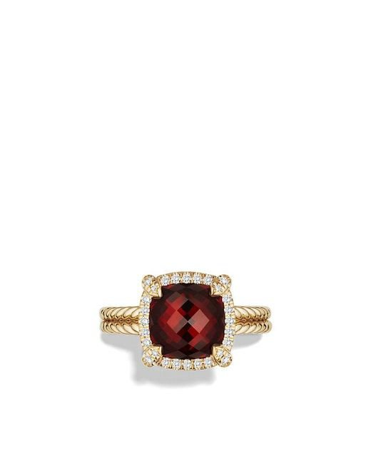 David Yurman - Metallic Châtelaine Pave Bezel Ring With Garnet And Diamonds In 18k Gold, 9mm - Lyst