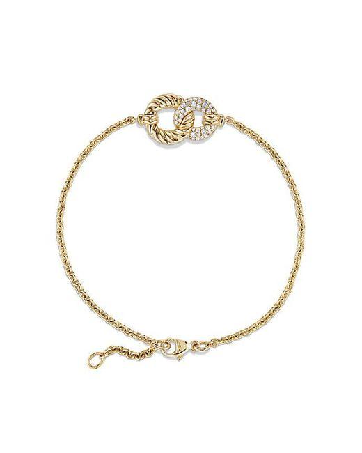 David Yurman - Metallic Belmont Curb Link Pendant Bracelet With Diamonds In 18k Gold - Lyst