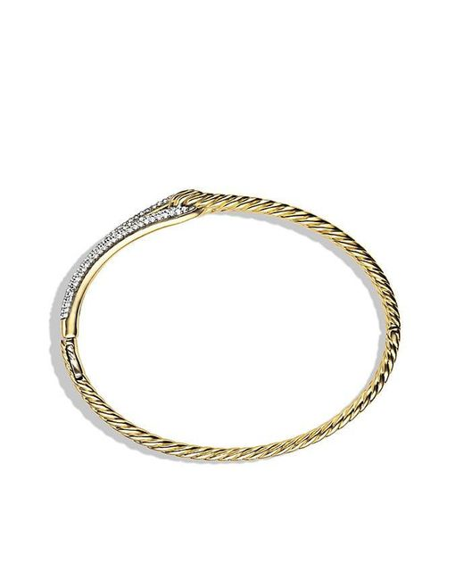 David Yurman - Metallic Labyrinth Single-loop Bracelet With Diamonds In 18k Gold, 8mm - Lyst