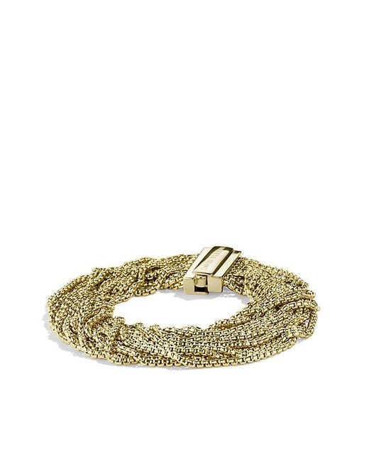 David Yurman | Metallic Multi-row Box Chain Bracelet In 18k Gold, 21mm | Lyst