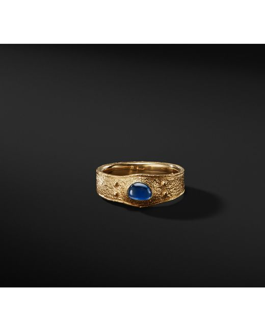 David Yurman - Metallic Shipwreck Single Stone Band Ring With Sapphires In 22k Gold for Men - Lyst