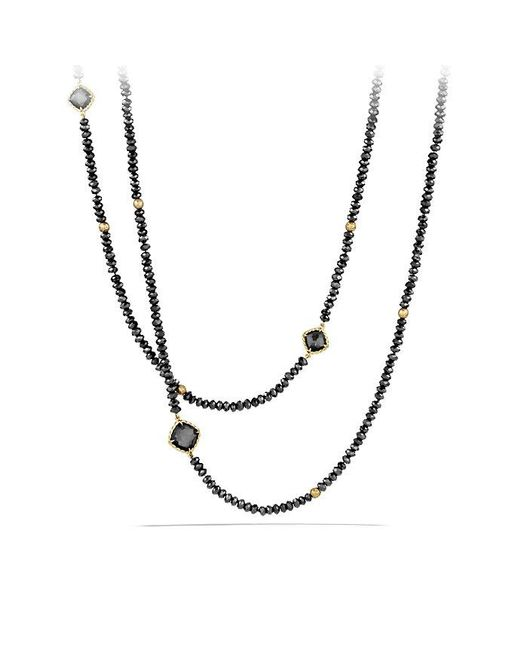 David Yurman - Dy Signature Bead Necklace With Hematine And Black Spinels In 18k Gold - Lyst