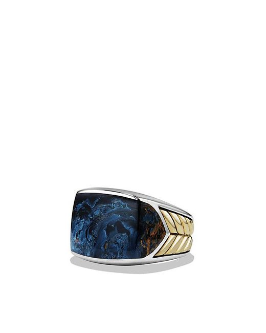 David Yurman | Blue Chevron Signet Ring With Pietersite And 18k Gold for Men | Lyst
