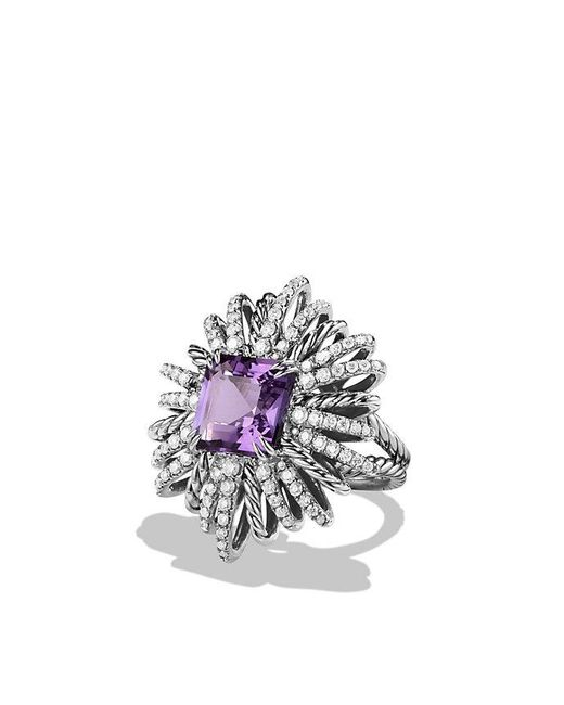David Yurman - Metallic Starburst Ring With Amethyst And Diamonds - Lyst