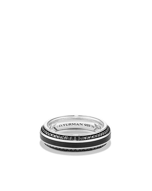 David Yurman | Streamline Beveled Edge Band Ring With Black Diamonds And Black Titanium, 6.5mm for Men | Lyst