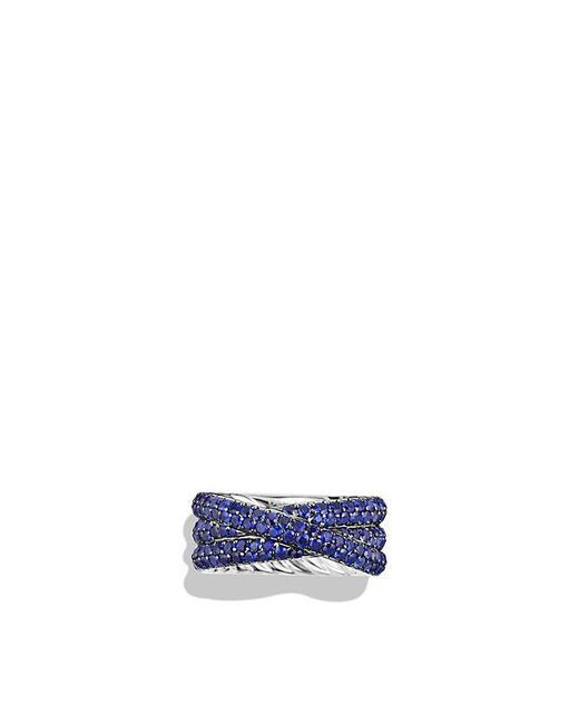 David Yurman - Blue Crossover Ring With Sapphires In 18k White Gold - Lyst