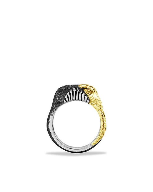 David Yurman - Metallic Waves Large Skull Ring With 18k Gold for Men - Lyst