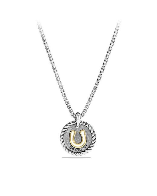 David Yurman - Metallic Petite Pave Horseshoe Charm Necklace With Diamonds And 18k Gold - Lyst