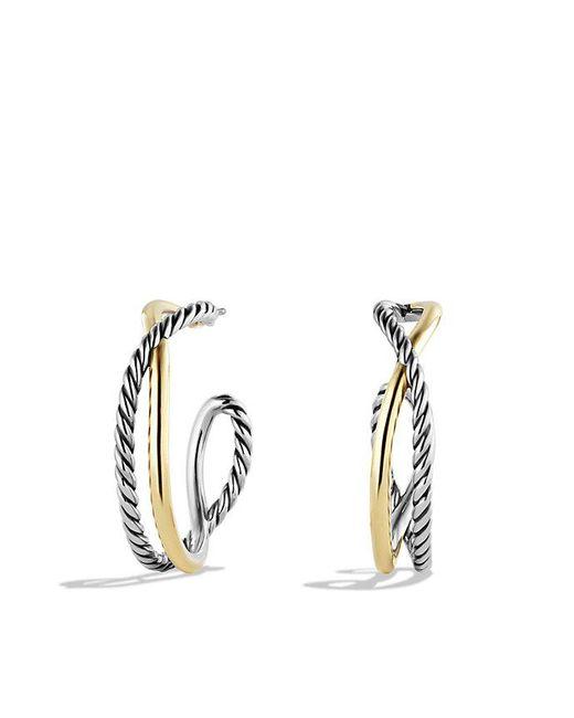 David Yurman | Metallic Crossover Hoop Earrings With 14k Gold | Lyst
