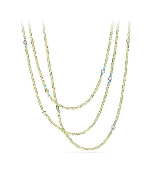 David Yurman - Mustique Beaded Necklace With Peridot, Gray Pearl And Mint Chrysoprase With 18k Gold - Lyst