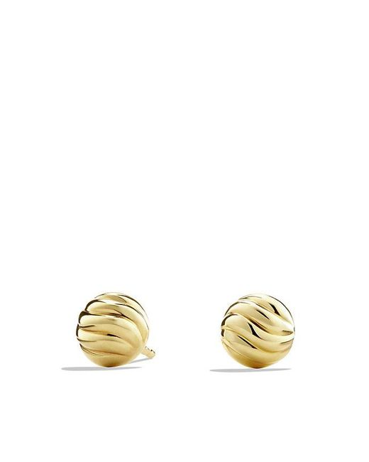 David Yurman - Metallic Sculpted Cable Stud Earring In 18k Gold - Lyst