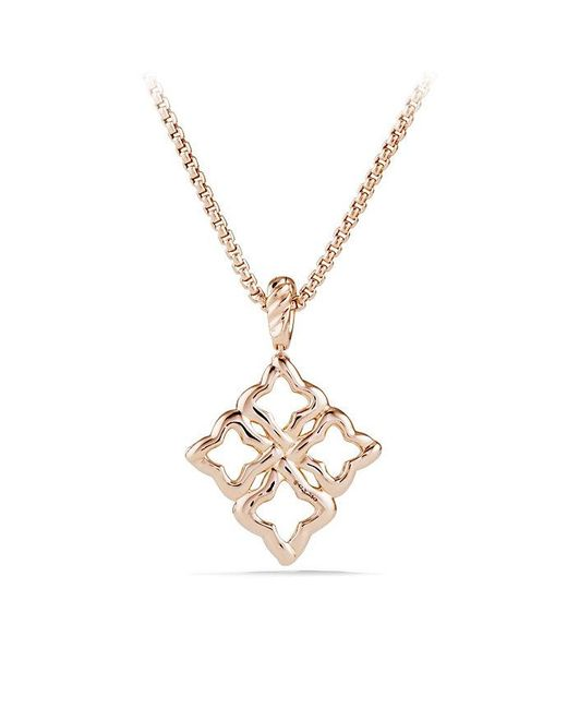 David Yurman | Pink Venetian Quatrefoil Pendant Necklace With Diamonds In 18k Rose Gold | Lyst