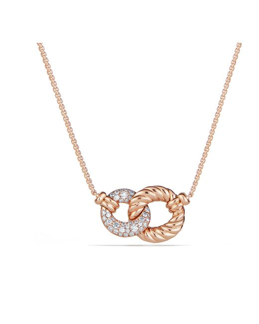 David Yurman - Metallic Belmont® Extra-small Double Curb Link Necklace With Diamonds In 18k Rose Gold - Lyst