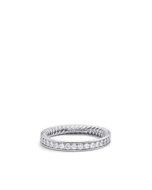 David Yurman - Metallic Dy Eden Eternity Wedding Band With Diamonds In Platinum, 3mm - Lyst