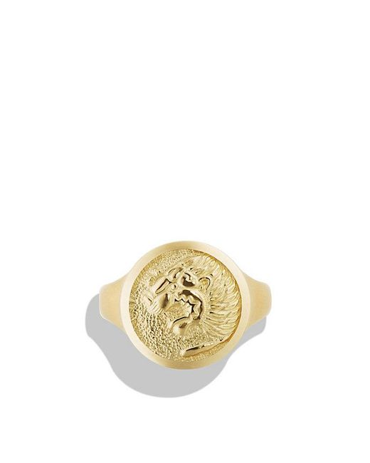 David Yurman - Metallic Petrvs Lion Signet Pinky Ring In 18k Gold - Lyst