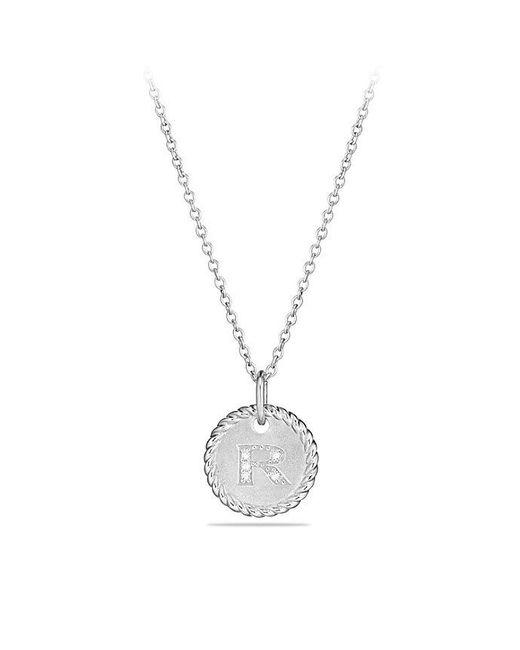 David Yurman - Metallic Initial Charm Necklace With Diamonds In 18k White Gold - Lyst