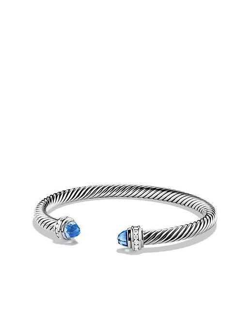 David Yurman | Cable Classics® Bracelet With Blue Topaz And Diamonds, 5mm | Lyst