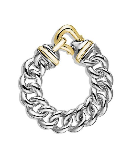 David Yurman | Metallic Buckle Single-row Bracelet With 18k Gold, 19mm | Lyst