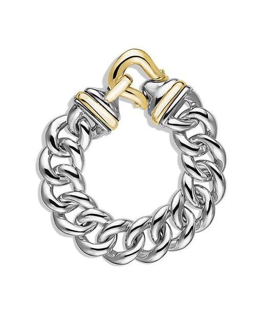 David Yurman | Metallic Buckle Single-row Bracelet With 18k Gold, 19mm | Lyst