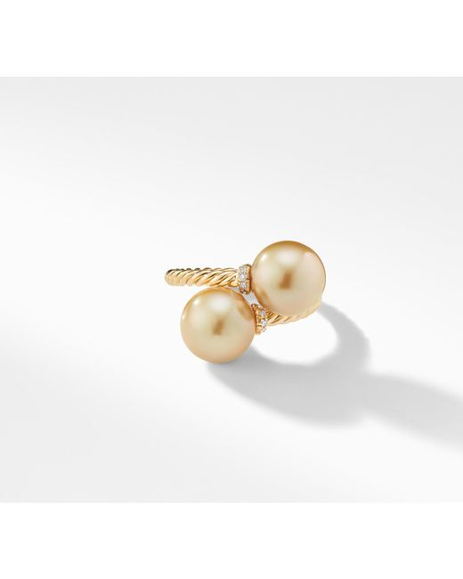 David Yurman - Metallic Solari Bypass Ring With Diamonds And South Sea Golden Pearls In 18k Gold - Lyst