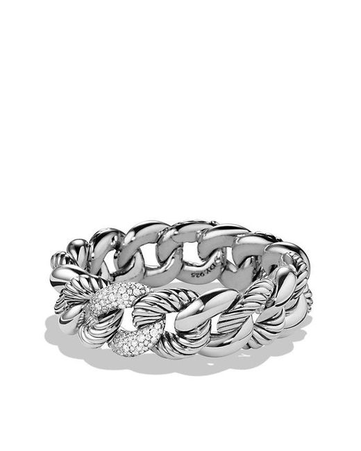 David Yurman - Metallic Belmont Curb Link Bracelet With Diamonds, 18mm - Lyst