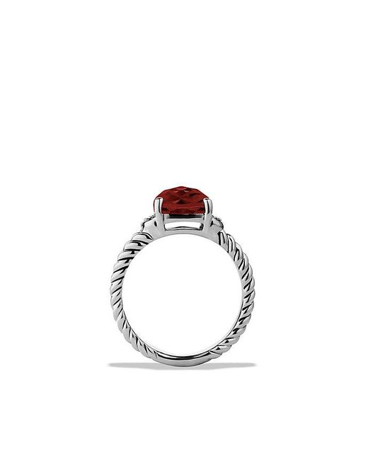 David Yurman | Metallic Petite Wheaton® Ring With Garnet And Diamonds | Lyst