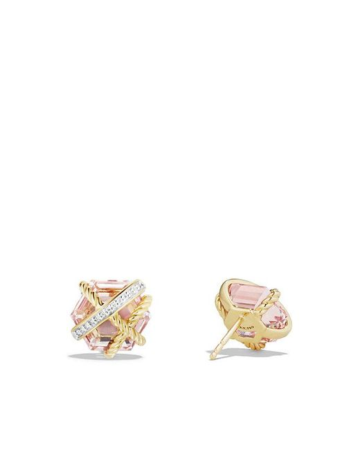 David Yurman - Metallic Cable Wrap Earrings With Morganite And Diamonds In 18k Gold, 10mm - Lyst