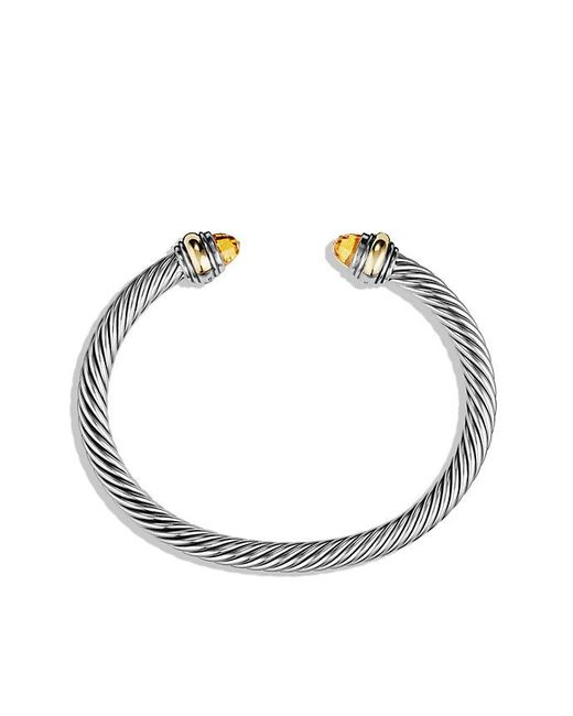 David Yurman - Metallic Cable Classic Bracelet With Citrine And 14k Gold, 5mm - Lyst