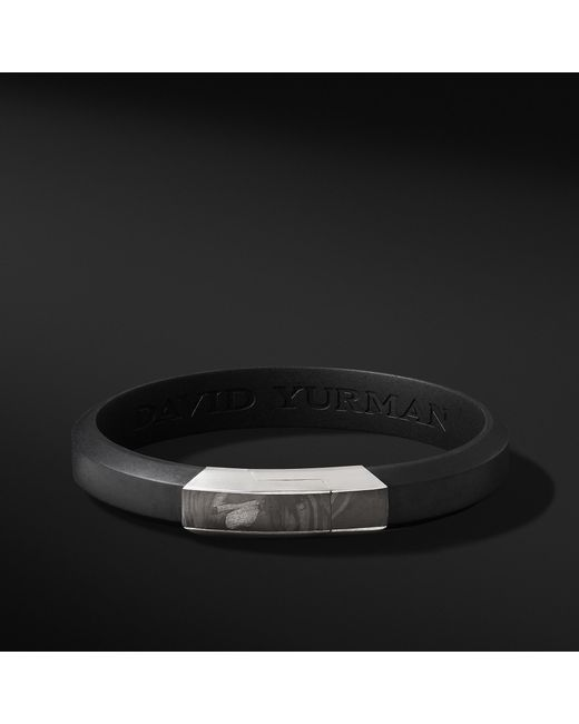 David Yurman - Forged Carbon Rubber Id Bracelet In Black for Men - Lyst