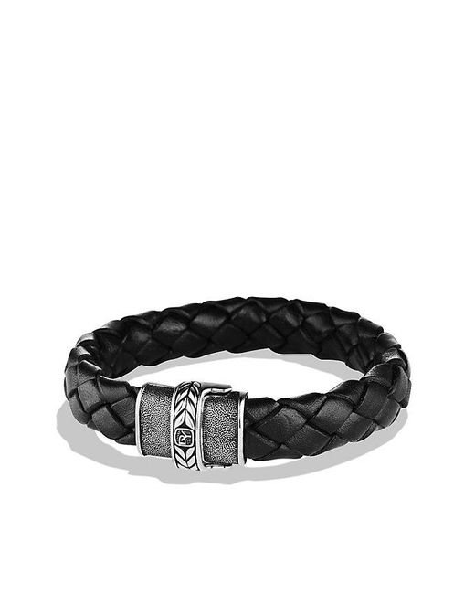 David Yurman | Chevron Bracelet In Black Leather for Men | Lyst