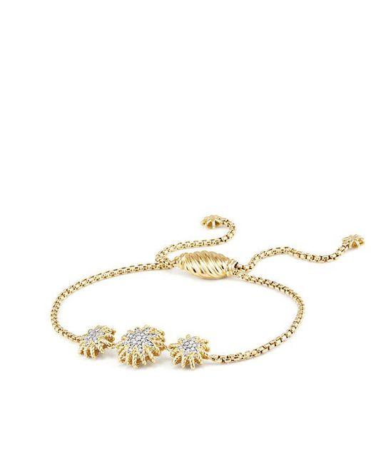 David Yurman - Metallic Starburst Three-station Bracelet With Diamonds In Gold - Lyst